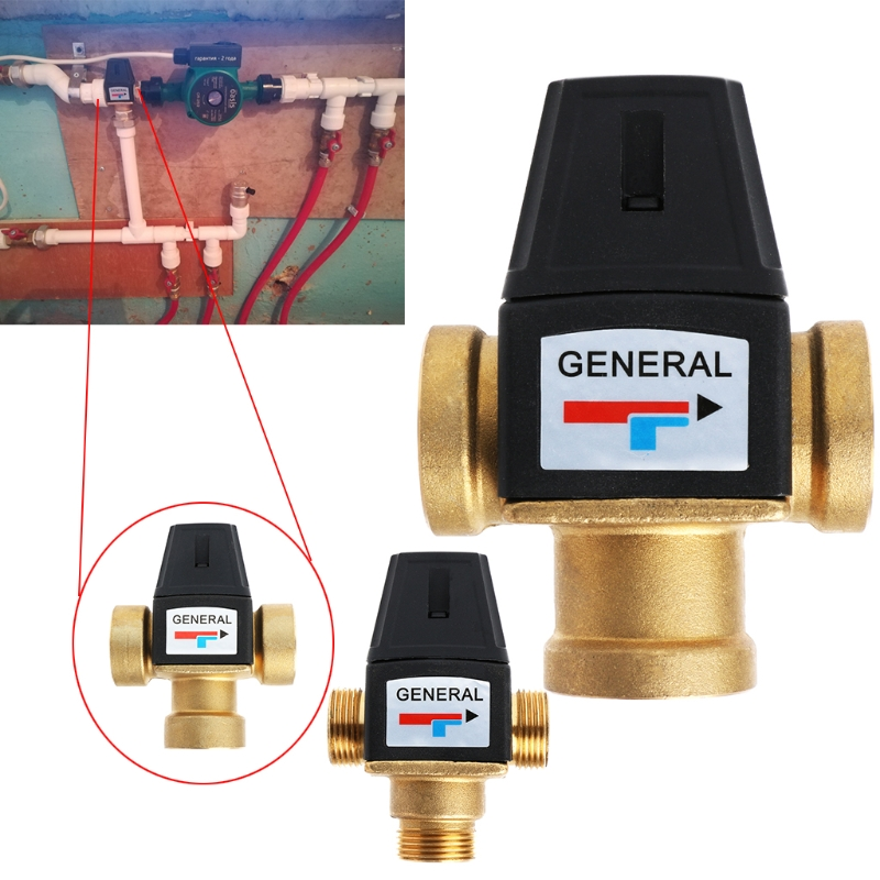 "3 Way Brass DN20/DN25 Male Female Thread Water Thermostatic Mixing Valve 3/4"" 1"" LS'D Tool"