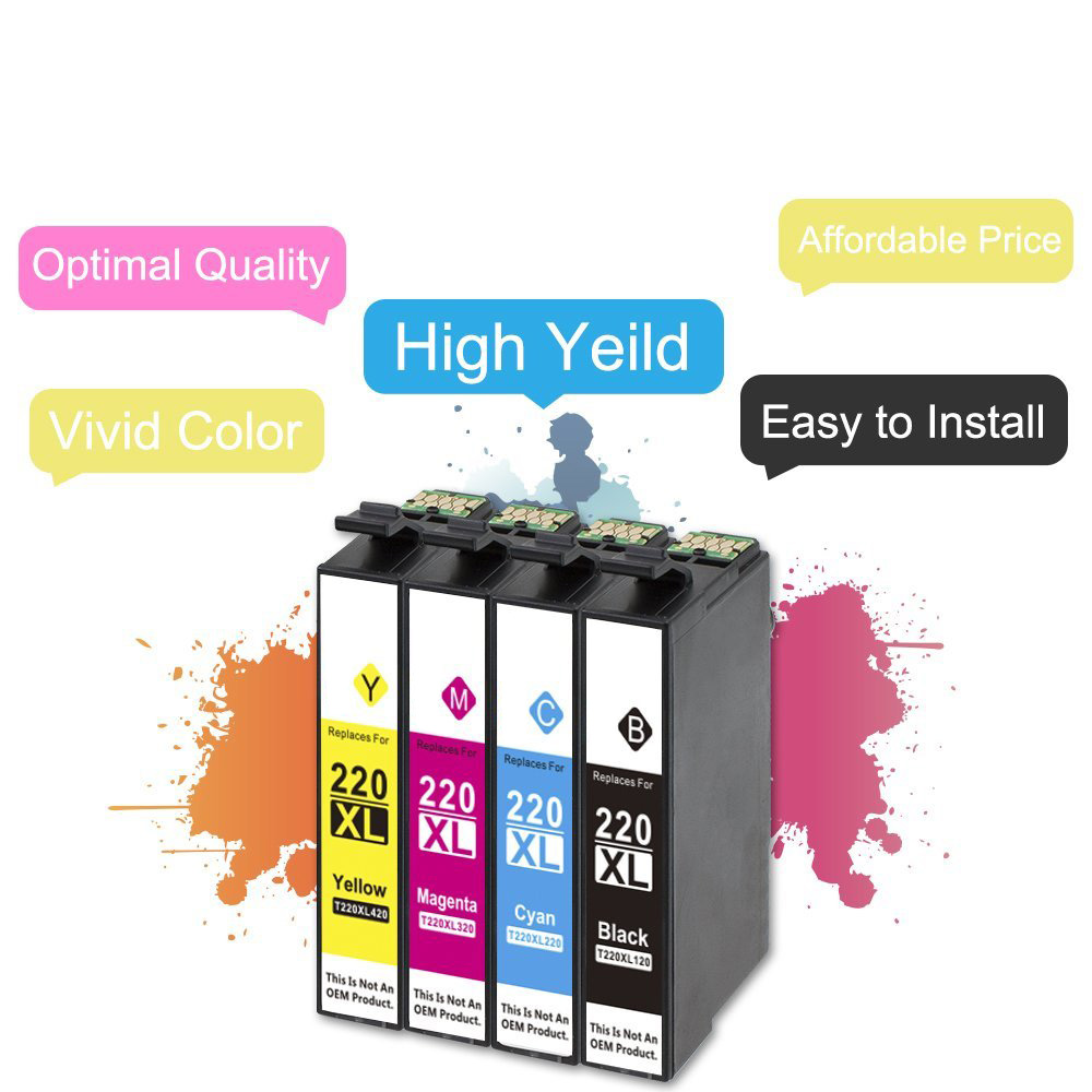 US $14 5 |5 Black Pack Epson 220xl T220 ink cartridge Compatible for Epson  WorkForce WF 2630 WF 2650 WF 2660 XP 320 XP 420 Printer Ink-in Ink