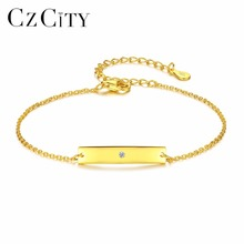 CZCITY Single Zircon 18k Gold 925 Sterling Silver Bracelet for Women Charms Chain Link Fashion Bracelets & Bangles Punk Jewelry