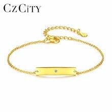 CZCITY Single Zircon 18k Gold 925 Sterling Silver Bracelet for Women Charms Chain Link Fashion Bracelets & Bangles Punk Jewelry