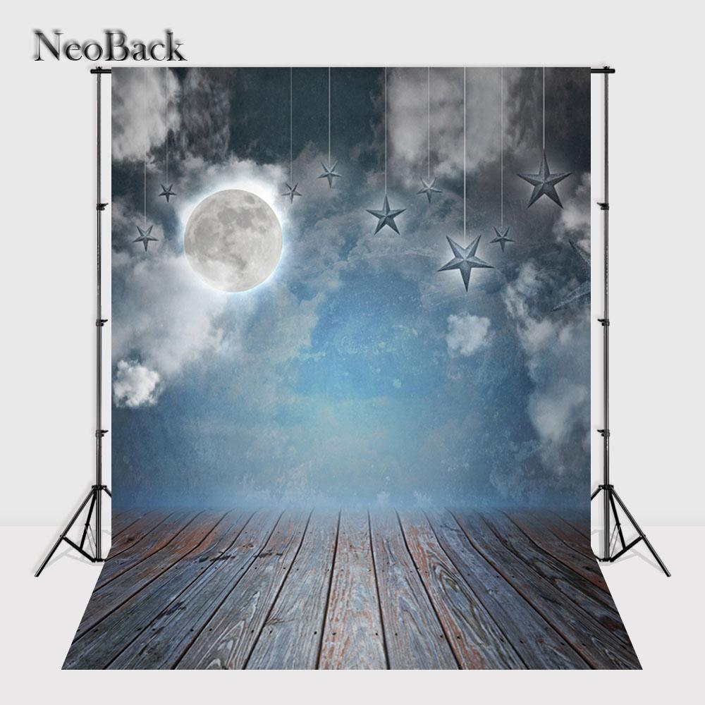 Prix pour NeoBack 5x7ft Vinyle Tissu Nuageux Lune Étoiles Vue de Nuit Nouveau-Né Bébé milieux Enfants Enfants Studio Photo Toile de Fond P0005
