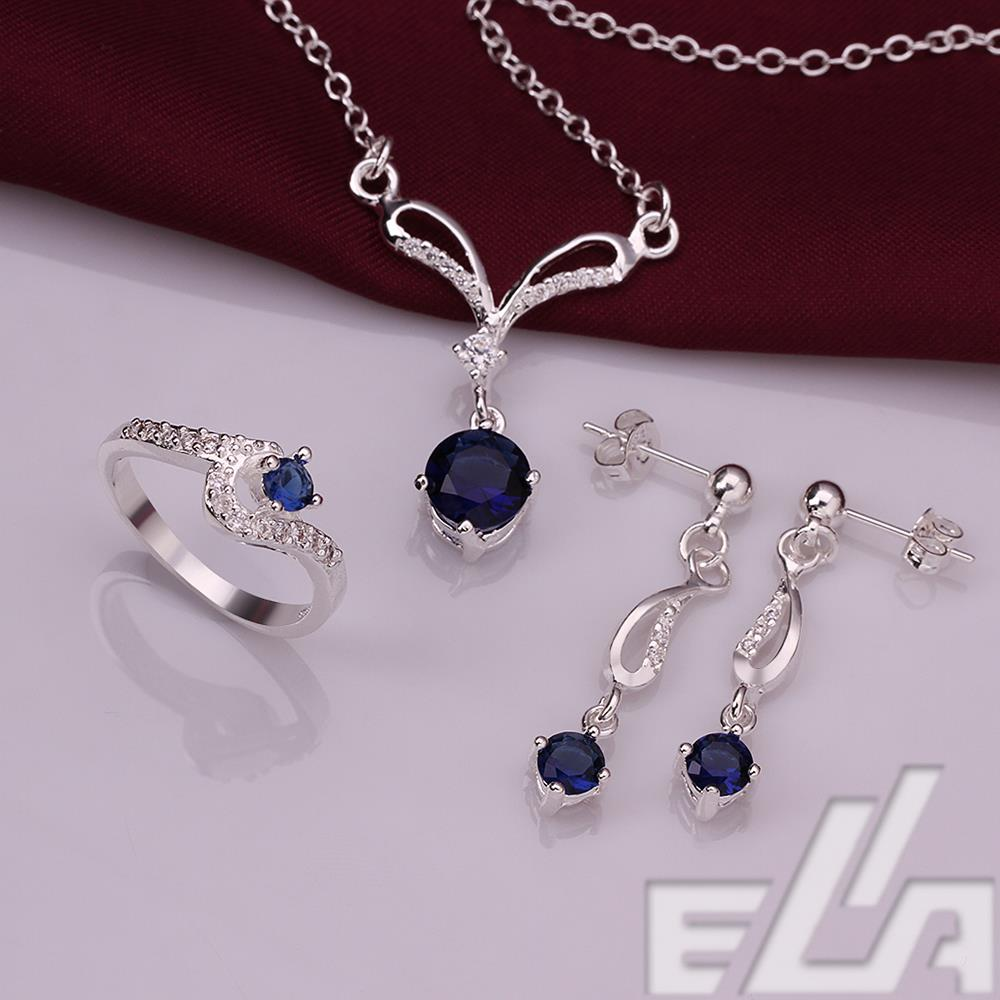 living locket charm silver plated sapphire jewelry set ring size 8