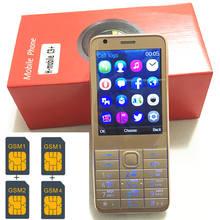 """4 Sim Karten 4 Standby 2,8 """"handy mp3 gsm china 800 mAh batterie Telefon Billige HANDYS Russische tastatur taste H-mobile C9"""