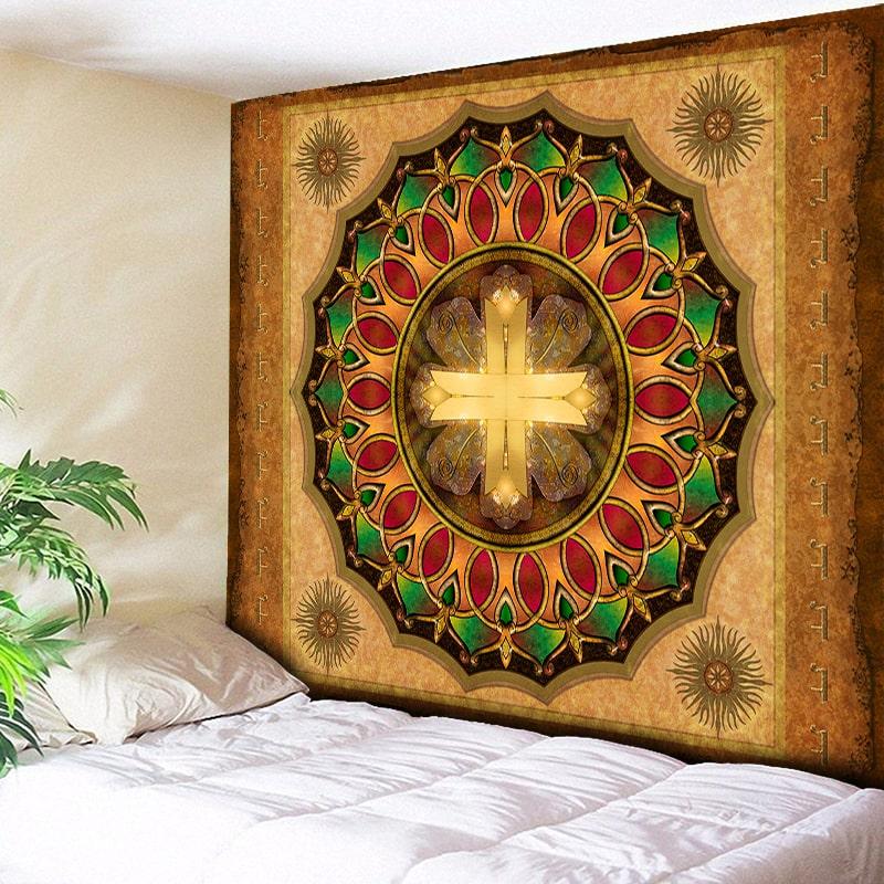 Golden Cross Mandala Tapestry Bohemian Wall Hanging India Ethnic