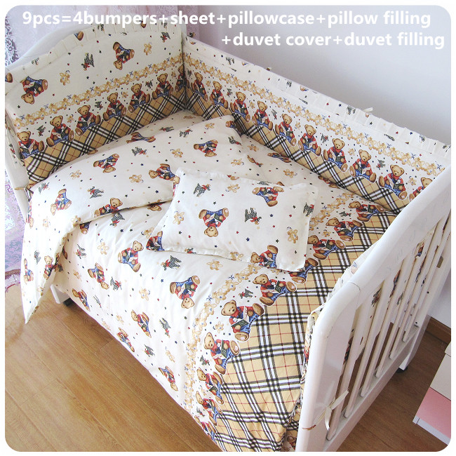 2017! 6/7pcs Baby Crib Cot Bedding Set Quilt Bumper Sheet Dust Ruffle Duvet Cover,120*60/120*70cm