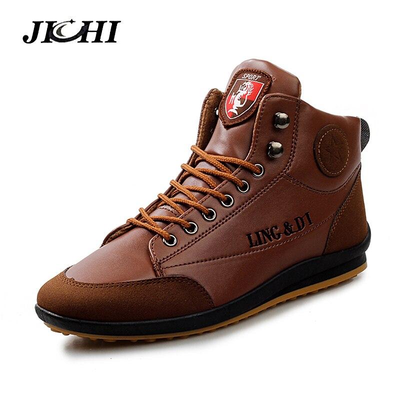 JICHI Cheapest Winter Boots Men Fashion Fur Winter Warm Cotton Shoes Men Leather Winter Ankle Boots Men Warm Casual Men Boots nt00024 5 men s casual warm nubuck cotton sneaker shoes black 44 pair
