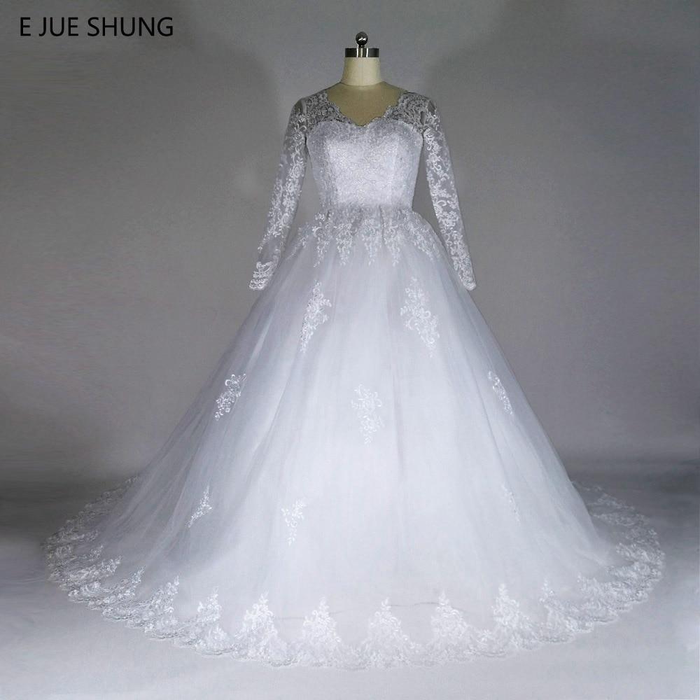 E JUE SHUNG Vintage Lace Appliques Bollklapp Billiga Bröllopsklänningar Lång Ärmar Backless Wedding Gowns Mantel