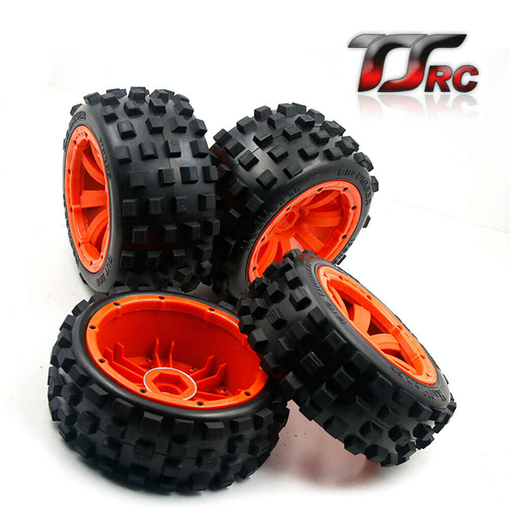 Front and Rear Wheel Tyres Set for 1/5 HPI ROVAN KM Baja 5B Rc Car Parts