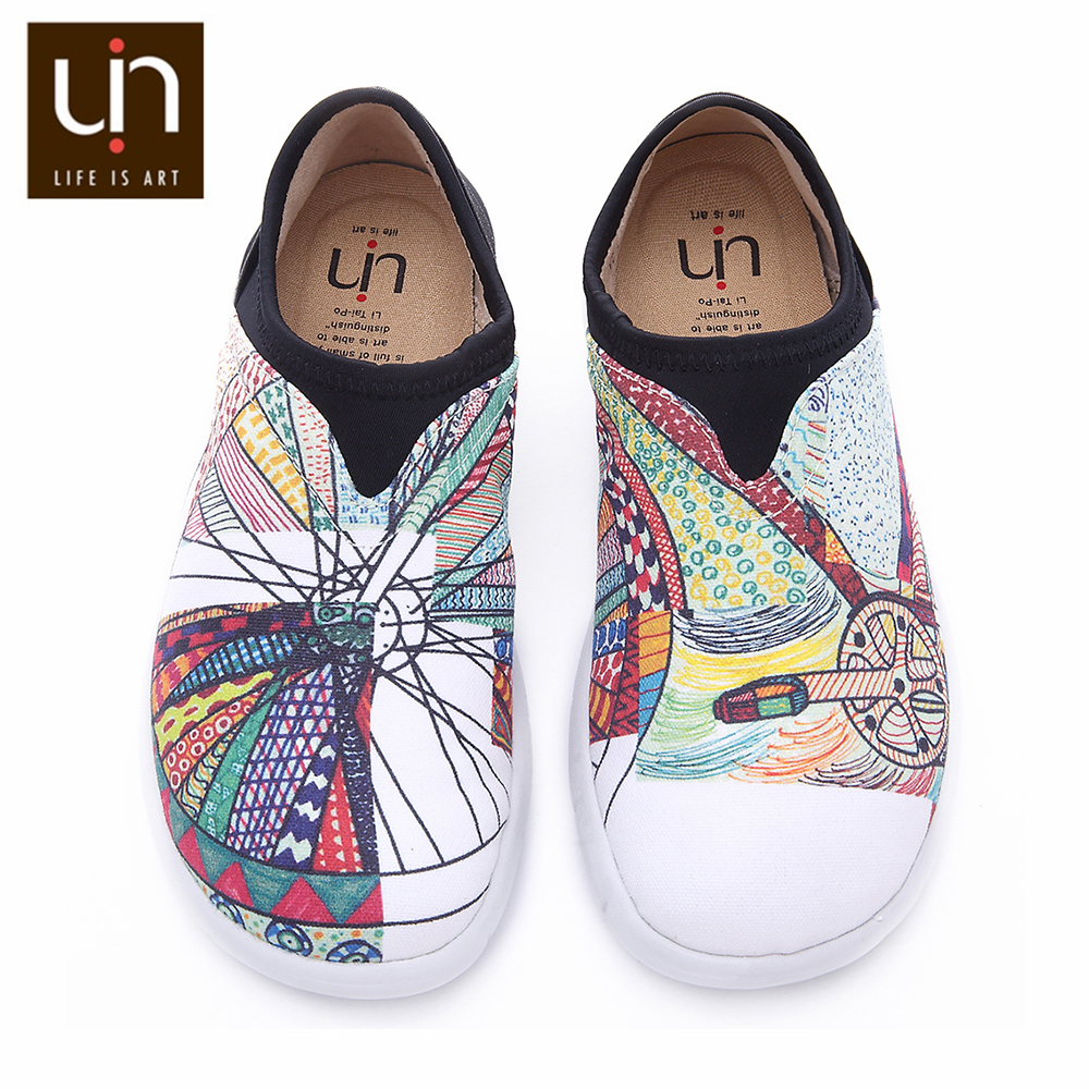 UIN Wheel Design Painted Canvas Shoes Women Trendy Slip-on Loafers Ladies Travel Flats Fashion Sneaker