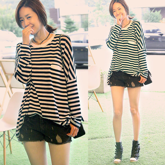 c723f945d1de Fashion plus size clothing for fat girl woman summer loose stripe long  sleeve length 100%