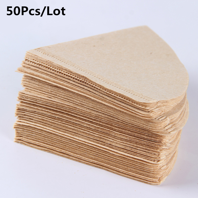 50 Pcs V60 Coffee Filter Papers Unbleached Original Wooden Drip Paper Cone Shape Espresso Coffee Brew M Accessories in Coffeeware Sets from Home Garden