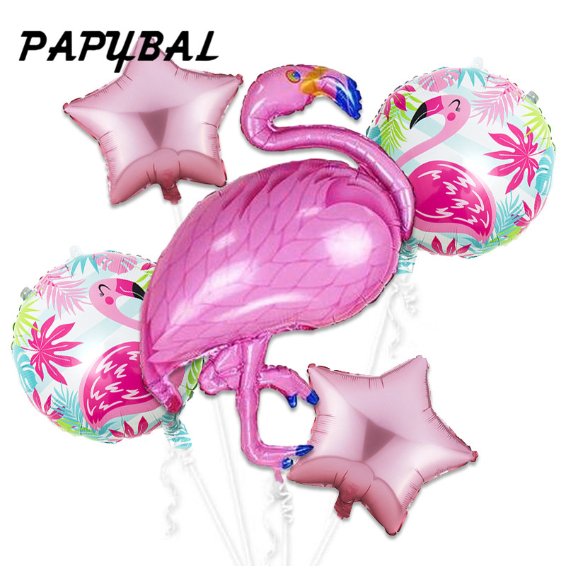 5pcs Flamingo Foil Balloons Hawaiian Tropical Luau Party Supplies Children Day Decor Baby Shower Summer Party Birthday Balloons