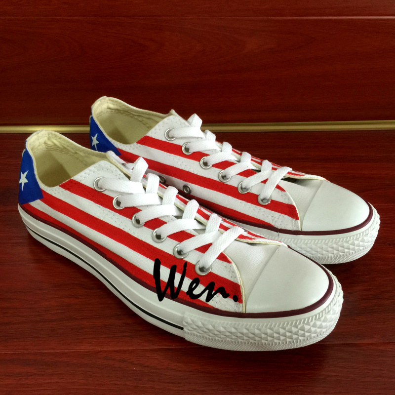 Wen Design Custom Hand Painted font b Sneakers b font Puerto Rico Flag Men Women s