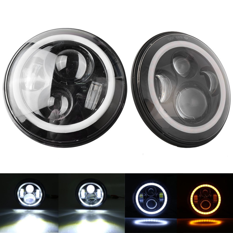 7 Inch Round LED Headlights White Halo Ring Angel Eyes + Amber Turning Signal Lights For Jeep Wrangler JK TJ CJ windshield pillar mount grab handles for jeep wrangler jk and jku unlimited solid mount grab textured steel bar front fits jeep