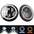 7 Inch Round LED Headlights White Halo Ring Angel Eyes + Amber Turning Signal Lights For Jeep Wrangler JK TJ CJ