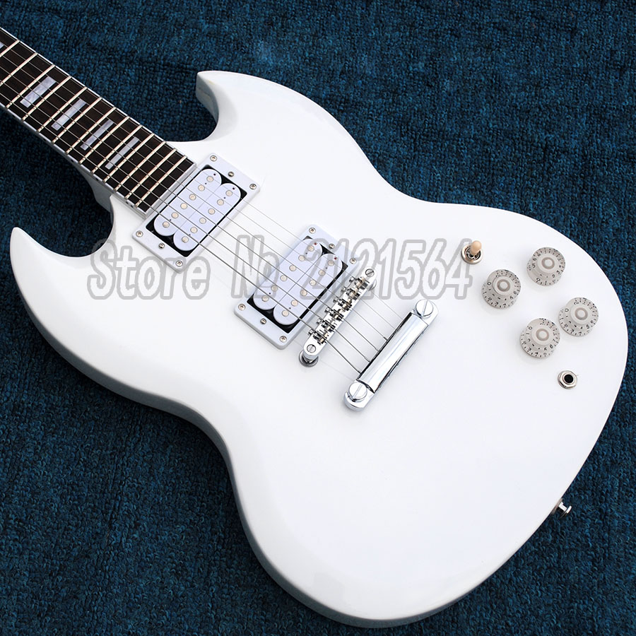 SG Guitar Electric 2016 New Arrival White Mahogany Body Rosewood Fretboard Chinese Custom musical instruments new arrival chinese glossy white sg electric guitars with mahogany body and neck guitar for sale