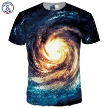 Mr.1991INC Space Galaxy T-shirt Men/Women 3d T shirt Print Golden Nebula Whirlpool T-shirt Fashion Brand Tops Tees