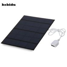 Kebidu แบบพกพา Dual USB ชาร์จแบตเตอรี่พลังงานแสงอาทิตย์ 5V 3.6W 500mA สำหรับ Power Bank พร้อม LED แสงแฟชั่นเดินทาง