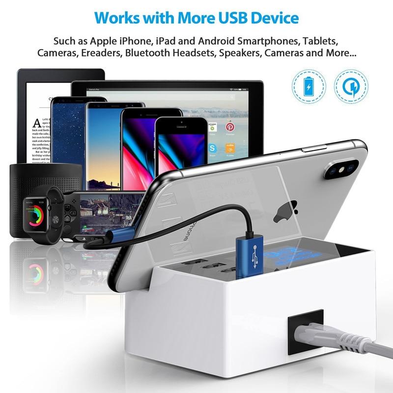Universal 4-Port LCD Display USB Charge Station 4