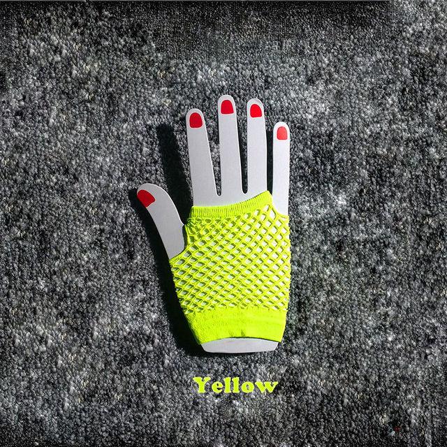 2015 High Quality Neon Short Fishnet Gloves Fish Net Black Fancy  Party Dance Club Nylon+Spandex Mesh Short Gloves 5