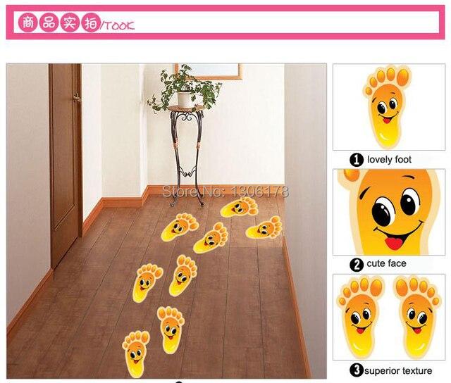 유치원 바닥 계단 작은 발을 접착제 스티커 어린이 방 벽 스티커 ...