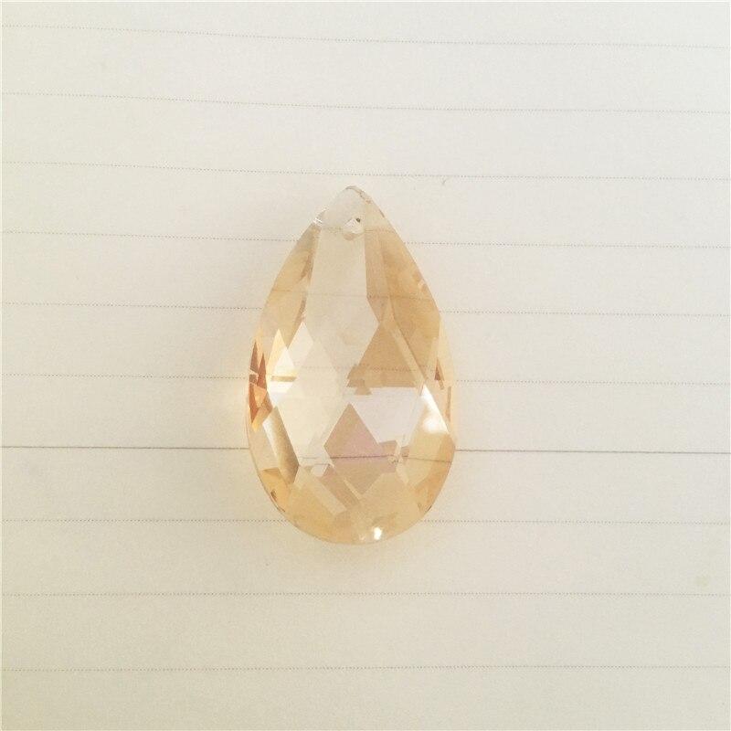 Wonderful 120pc 38mm Gold Champagne Crystal Almond Pendants Glass Chandelier Parts Prism Suncatchers Pendants Curtain Home