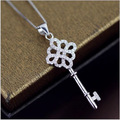 925 Sterling Silver Crystal Key Pendant Necklace 2016 Fashion Jewelry for Women Valentine's Gifts
