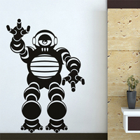 Free Shipping Wall Stickers Home Decor SIze 810mm 620mm PVC Vinyl Paster Removable Art Mural Robot