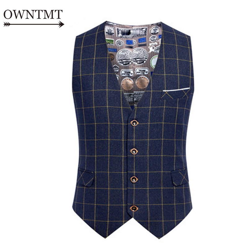 Suit Vest Waistcoat Dress Plaid Wedding Formal Business Spring 6XL Man Work Male Slim