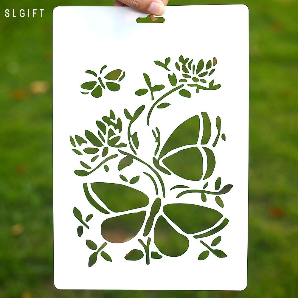 ̀ •́ DIY mariposa estratificación stencil para la pared de la ...