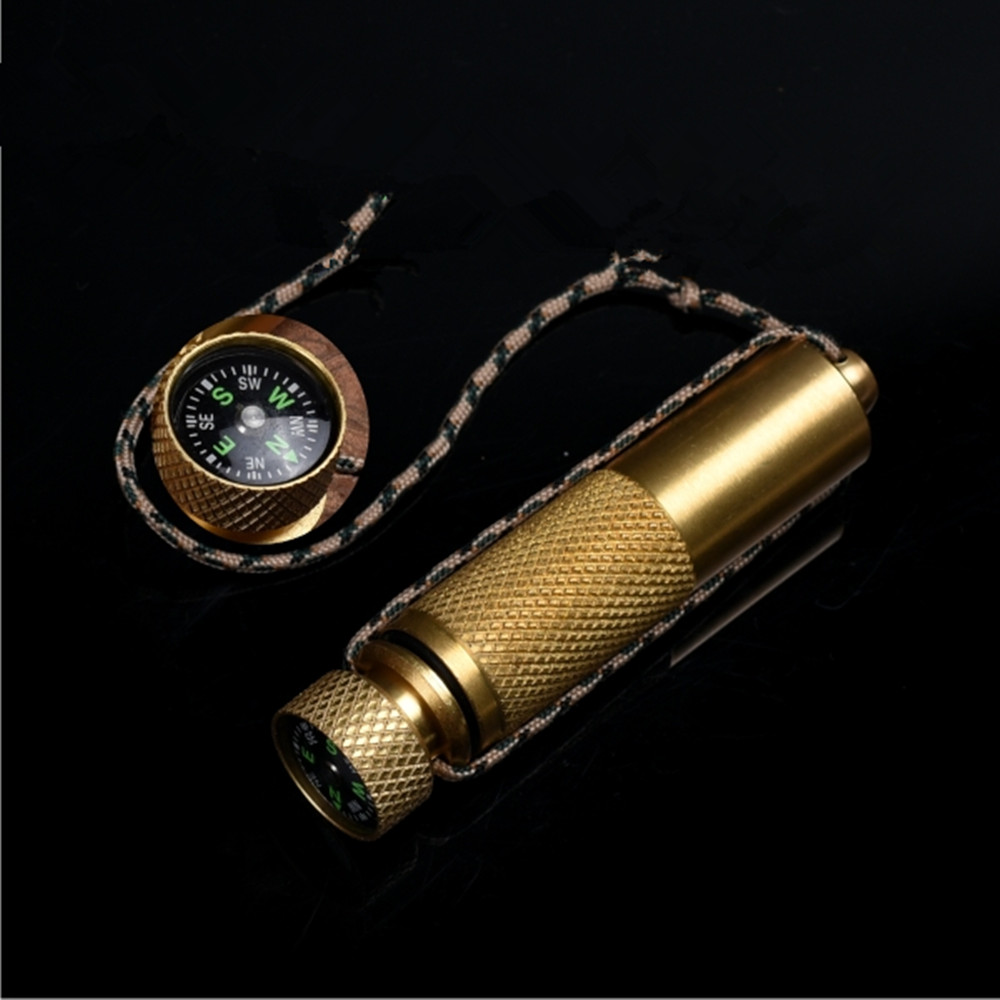 Brass Outdoor Waterproof Bottles with  compass Emergency First Aid Survival Pill Camping EDC tools Tank Box ycys new outdoor camping hiking portable brass pocket golden compass navigation outdoor tools gift