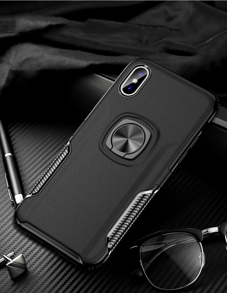 Luxury Leather texture Bracket case For iPhone x xs max xr Shockproof armor cover For iphone 6 6s 7 8 plus case with ring holder (12)