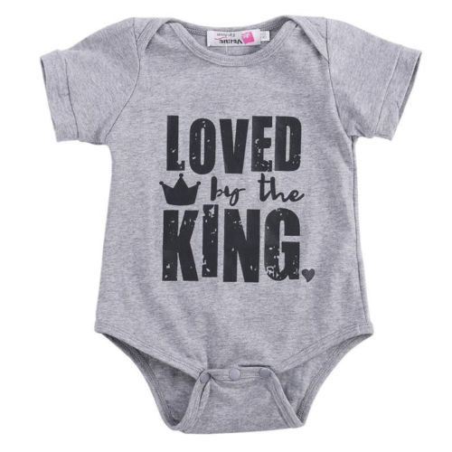Baby Clothes Letter Printed Baby Rompers Short Sleeve Jumpsuit
