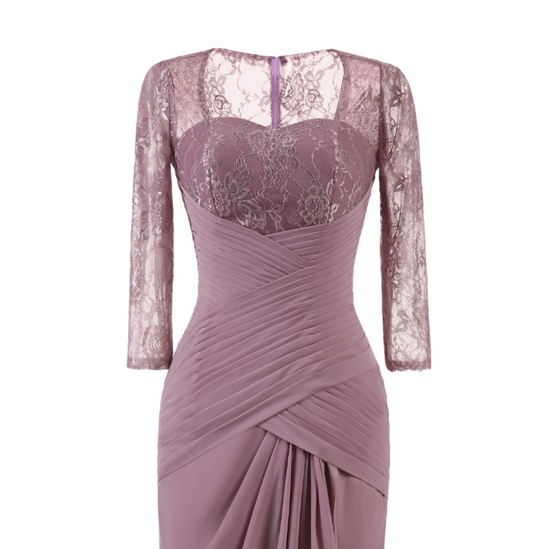 W.JOLI Long Evening Dress Elegant Lace Pleat Bride Banquet Floor-length Prom Gown lavender Purple Vintage Wedding Party Dress 8