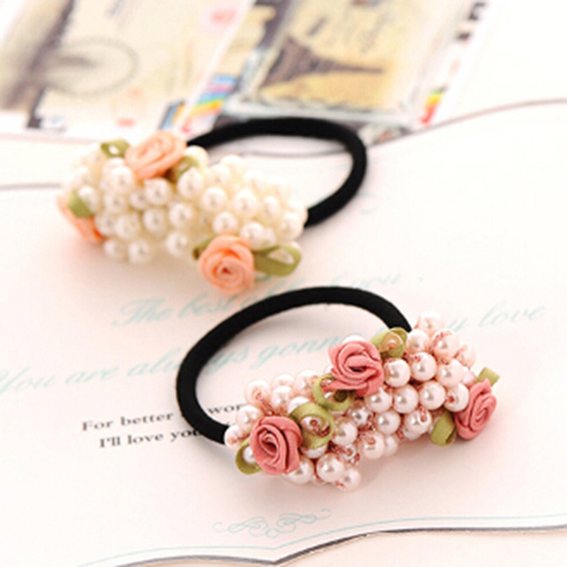 Women Flower Beaded Pearl  Elastic Hair Bands Rubber Band Ponytail Holder 1pc