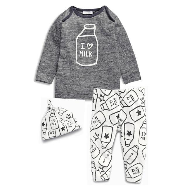 Primavera bebé fijó Cómodo infantil niñas ropa de la camiseta + pant + hat conjuntos bebé niños deportes traje niños lindo niño recién nacido establece