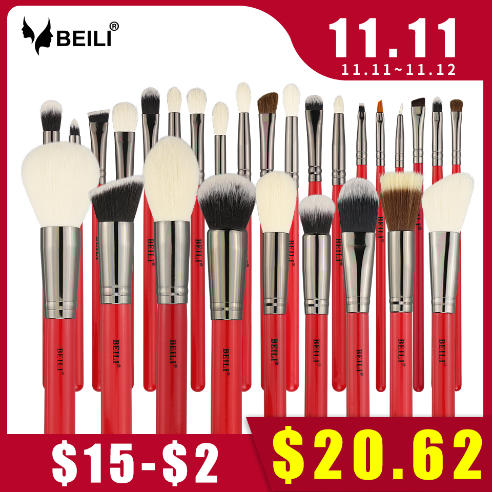 BEILI Red 28pcs Professional Makeup Brushes Set Natural Hair Powder Foundation Blusher Eyeshadow Eyebrow liner Makeup Brush Tool rancai 12pcs makeup brushes set powder foundation blusher lip eyeliner eyelash eyeshadow eyebrow brush