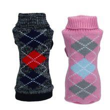 Одежда для домашних животных, жаккардовый вязаный клетчатый свитер со щенком, джемпер для домашних животных, пальто Верхняя одежда