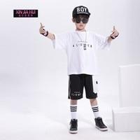 Boys Hip hop Style Short sleeved Kids Sports Suit Pole Jazz Dance Outfit Clothing Dj Rave Stage Hip Hop Costume