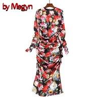 by Megyn women winter silk dress 2018 fashion runway women long sleeve floral print retro bodycon pleated party dress for woman