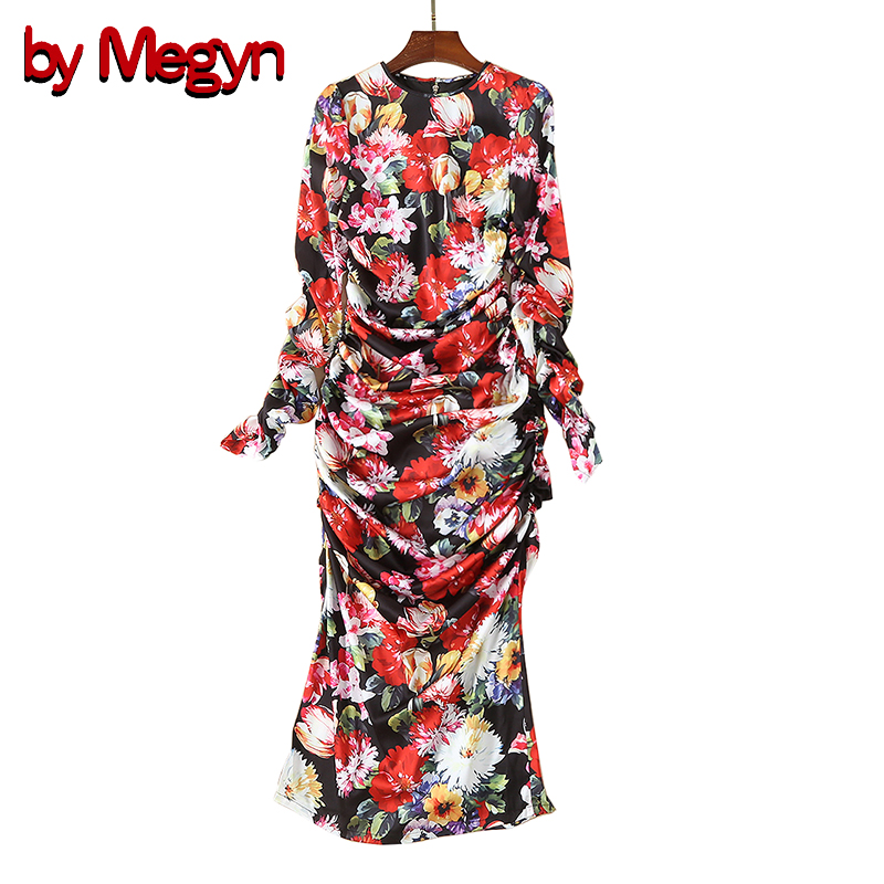 by Megyn women winter silk dress 2019 fashion runway women long sleeve floral print retro bodycon pleated party dress for woman-in Dresses from Women's Clothing    1