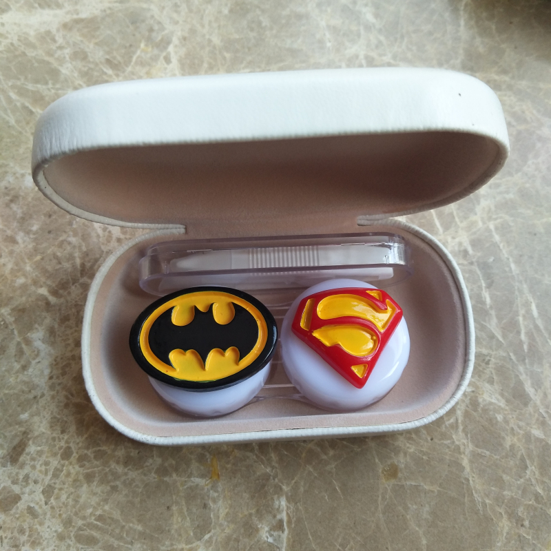 Apparel Accessories Eyewear Accessories Liusventina 2018 New Diy Resin Cute Batman Superman Combo Contact Lens Case Bag Container For Color Lenses Gift For Boy And Girl