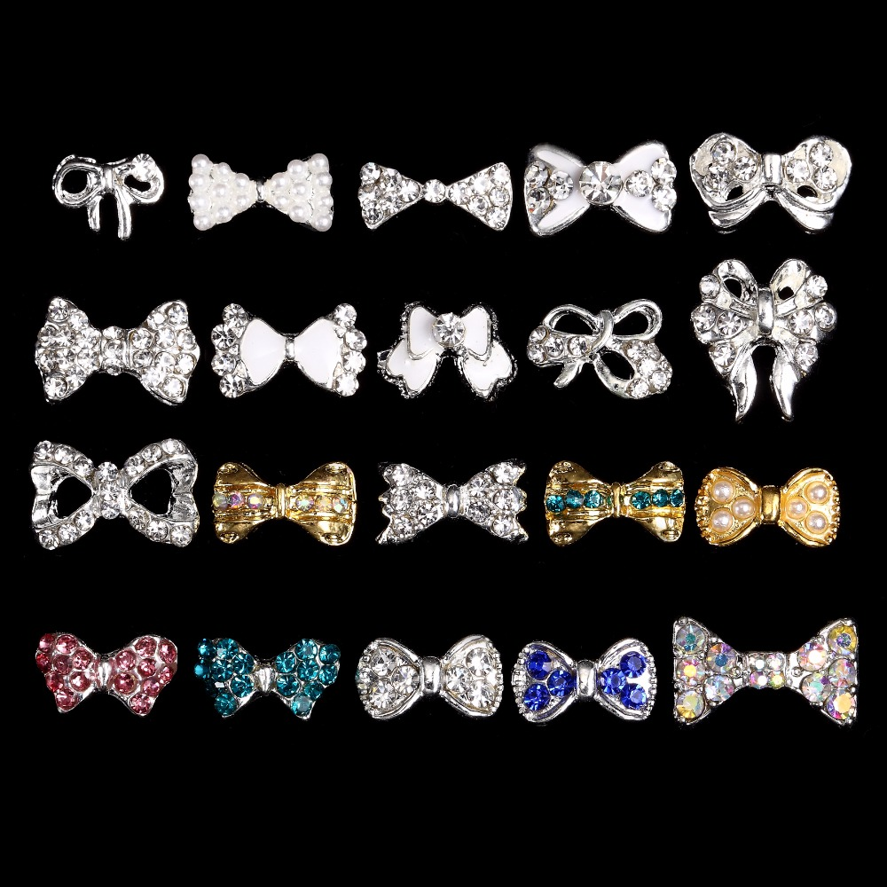 Купить с кэшбэком 3d Alloy Rhinestone Bow Tie Nail Art Decorations,100pcs Crystal DIY Nail Glitter Accessories Jewelry,Nail Supplies***3653-3672