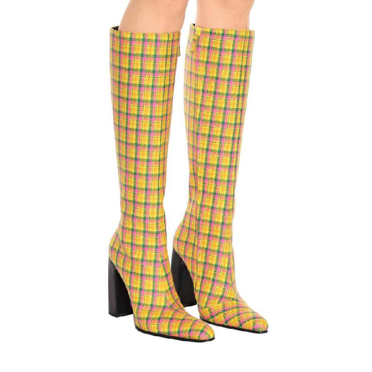 Abesire 2019 Women Spring New Yellow Gingham Square High Heels Knee High Boots Ladies Round Toe Side Zipper Dress T-stage ShoesAbesire 2019 Women Spring New Yellow Gingham Square High Heels Knee High Boots Ladies Round Toe Side Zipper Dress T-stage Shoes