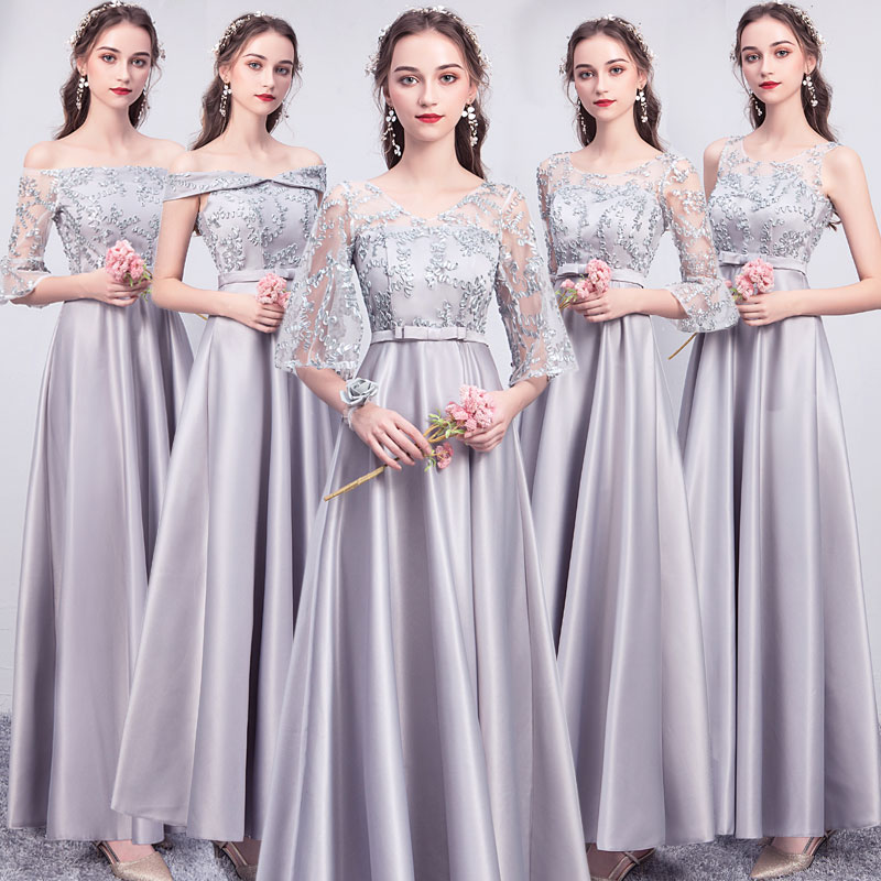 Bridesmaid Dress 2019 New Gray Sister Skirt Long Sleeve Long Satin Graduation Dress Wedding Party Dress Long Party Dress