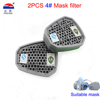 PROVIDE 2PCS 4 # gas mask filter formula Activated carbon filter Cartridges against Ammonia Hydrogen sulfide Mask filter