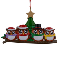 Colorful Owl Family Of 4 Members Christmas Gifts Wall Decal Art Sticker Home Decor