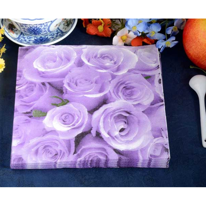Sale 100pcs table napkin paper tissue flower purple red pink rose printed decoupage hotel patry festive decorative food-grade