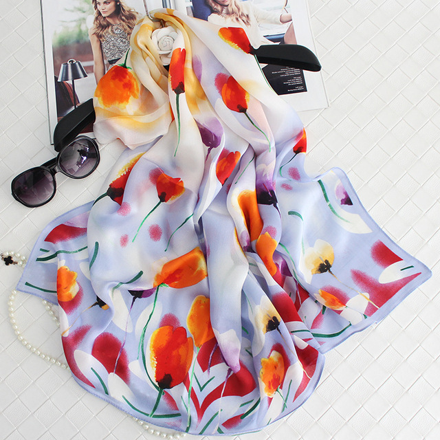 100%Silk Tulips Printed Women Winter Scarves 180x65cm Big Size Warm Echarpe Luxury Brand Foulard Bandana Simple Elegant Hijab S7