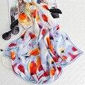 100% Tulipanes de Seda Impresa de Las Mujeres Invierno Bufandas 180x65 cm Tamaño Grande Bandana Foulard Echarpe Caliente Marca de Lujo Simple elegante Hijab S7